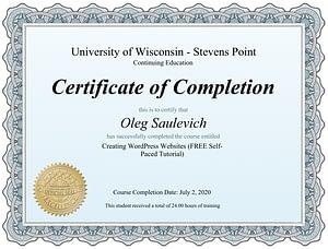 Сертификат разработчика сайтов WordPress
