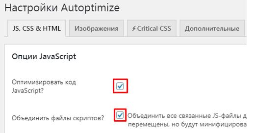 settings autoptimize js