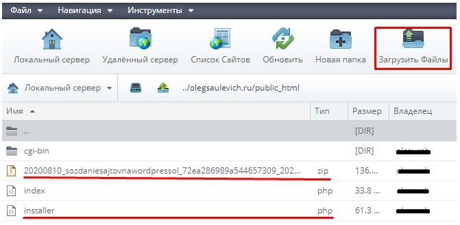 Загружаем файлы пакета на хостинг